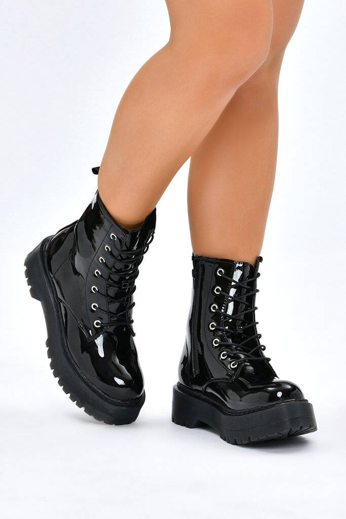 Black Patent Military Boots With Chunky