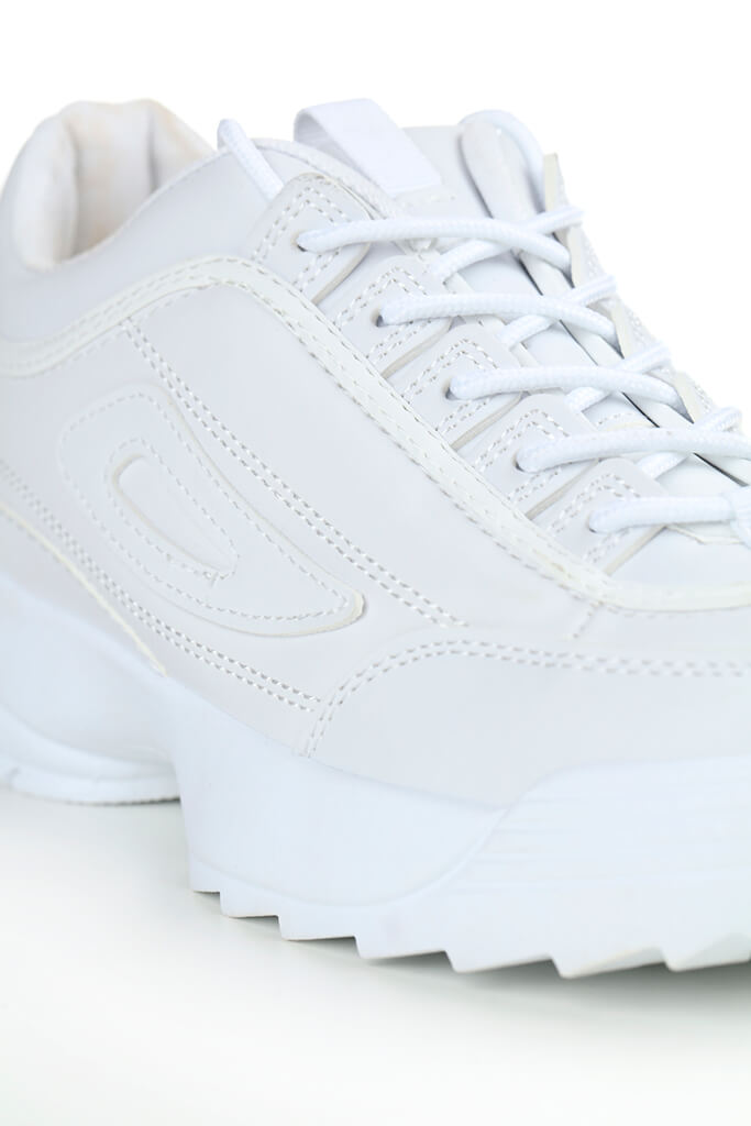 White Chunky Sole Stretch Trainers