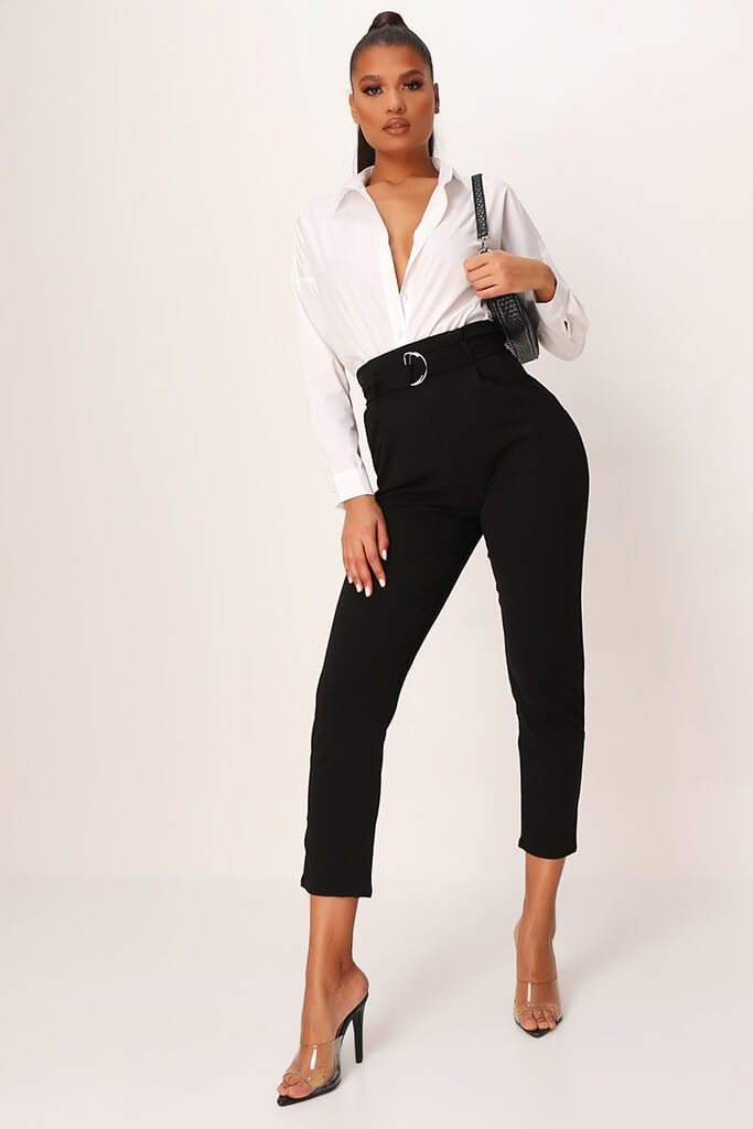Black D Ring Belted High Waist Trousers view main view