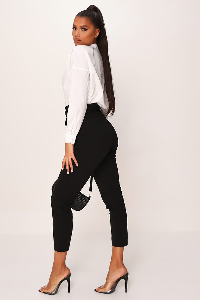 Black D Ring Belted High Waist Trousers view 3