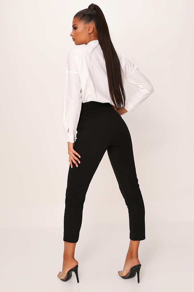 Black D Ring Belted High Waist Trousers view 5