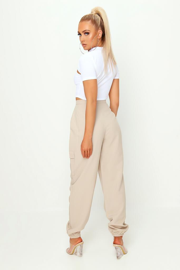 Stone Popper Front Cargo Trousers view 5