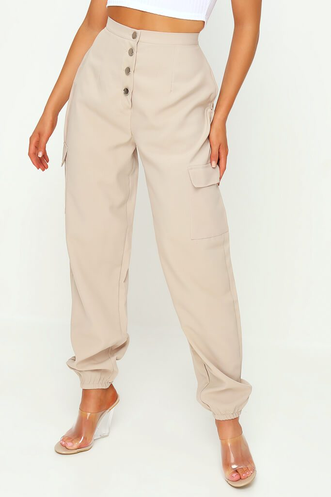 Stone Popper Front Cargo Trousers view 3