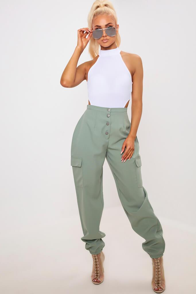 Green Popper Front Cuffed Utility Trousers