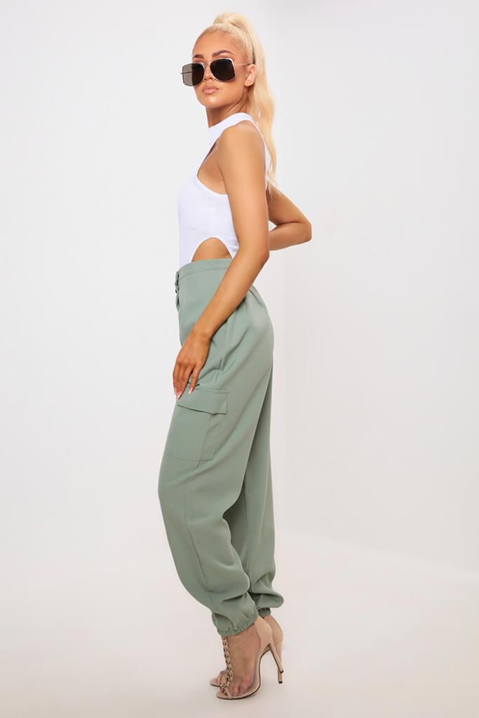 Green Popper Front Cargo Trousers view 3
