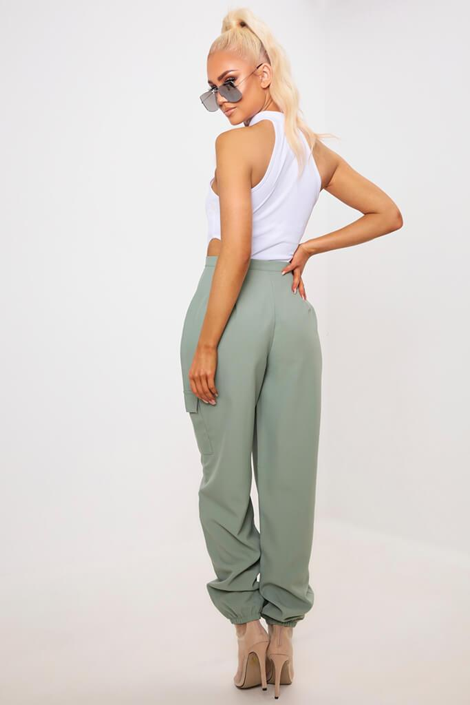Green Popper Front Cargo Trousers view 5