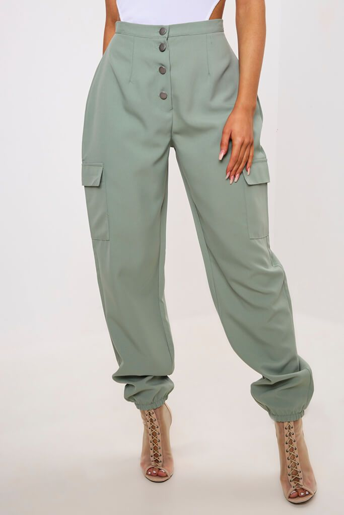 Green Popper Front Cargo Trousers view 2