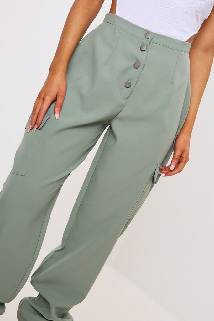 Green Popper Front Cargo Trousers view 4