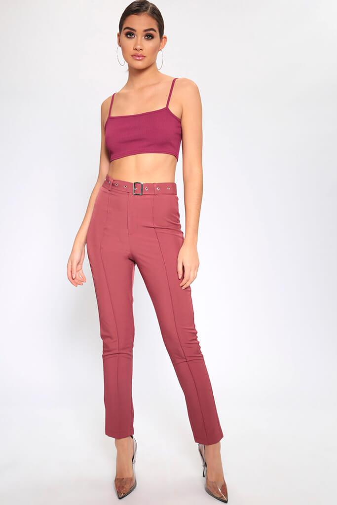 Brown High Waisted Belted Trousers