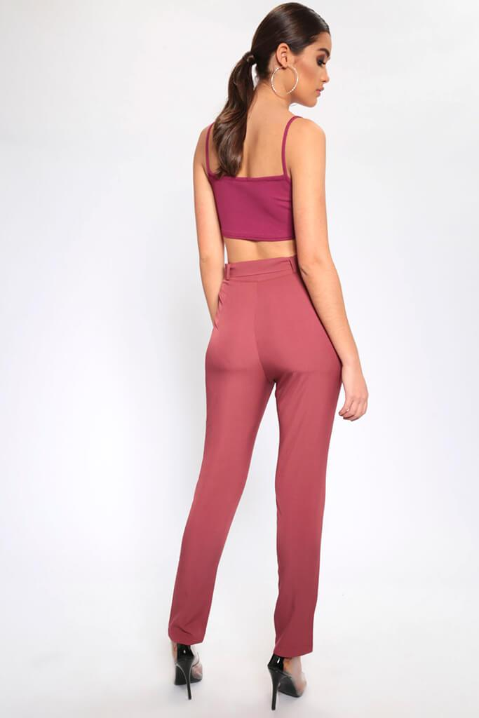 Brown High Waisted Belted Trousers view 3