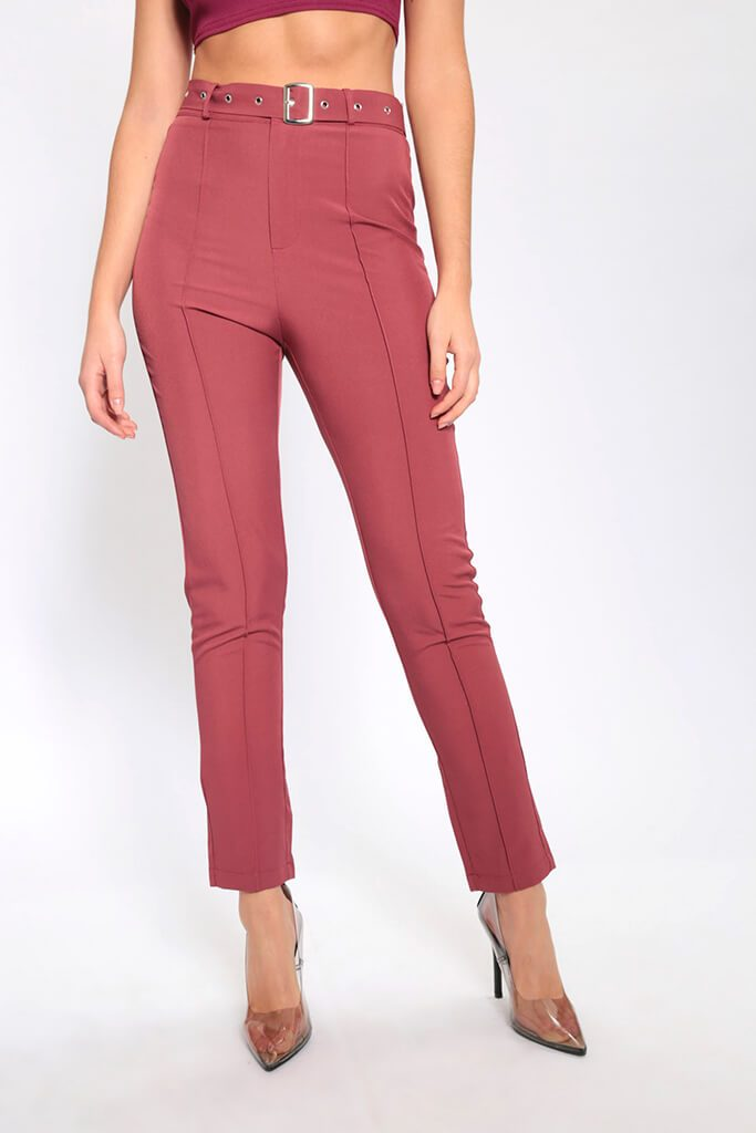 Brown High Waisted Belted Trousers view 4