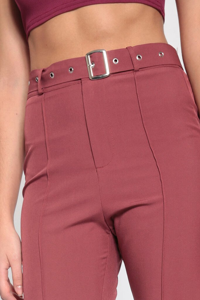 Brown High Waisted Belted Trousers view 5