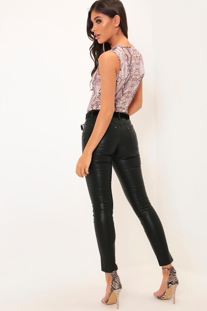 Black Faux Leather Skinny Trousers view 3