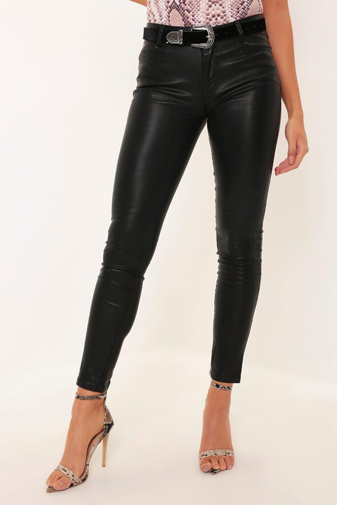Black Faux Leather Skinny Trousers view 4
