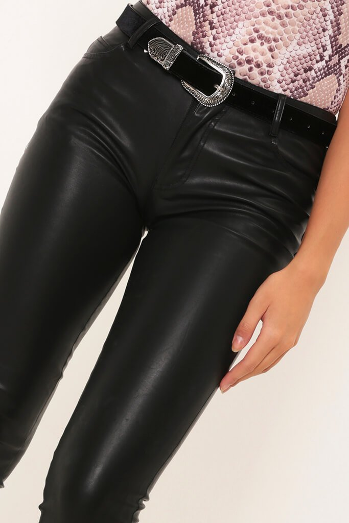 Black Faux Leather Skinny Trousers view 5