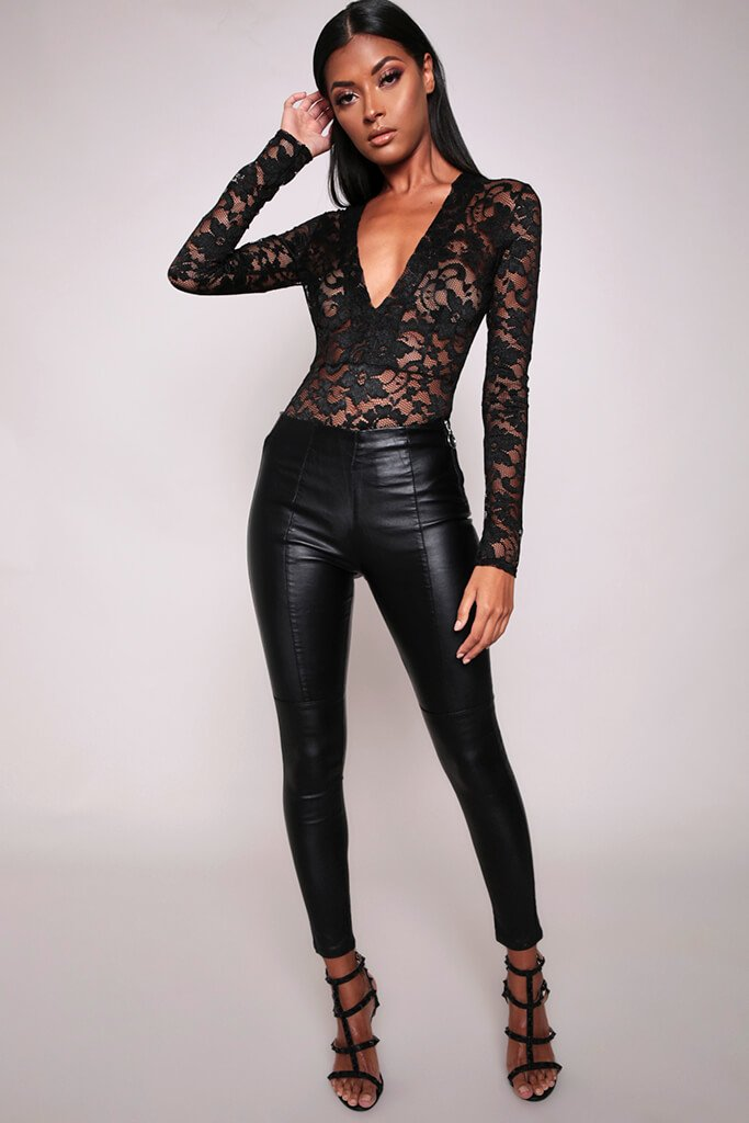 Black Faux Leather Side Zip Trousers