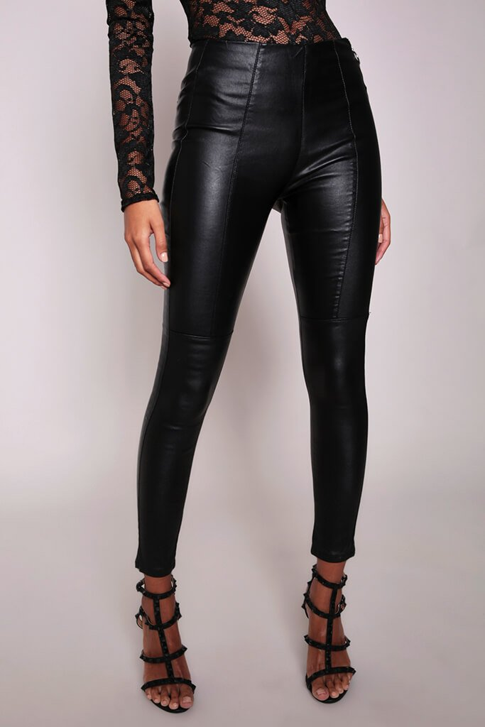 Black Faux Leather Side Zip Trousers view 2