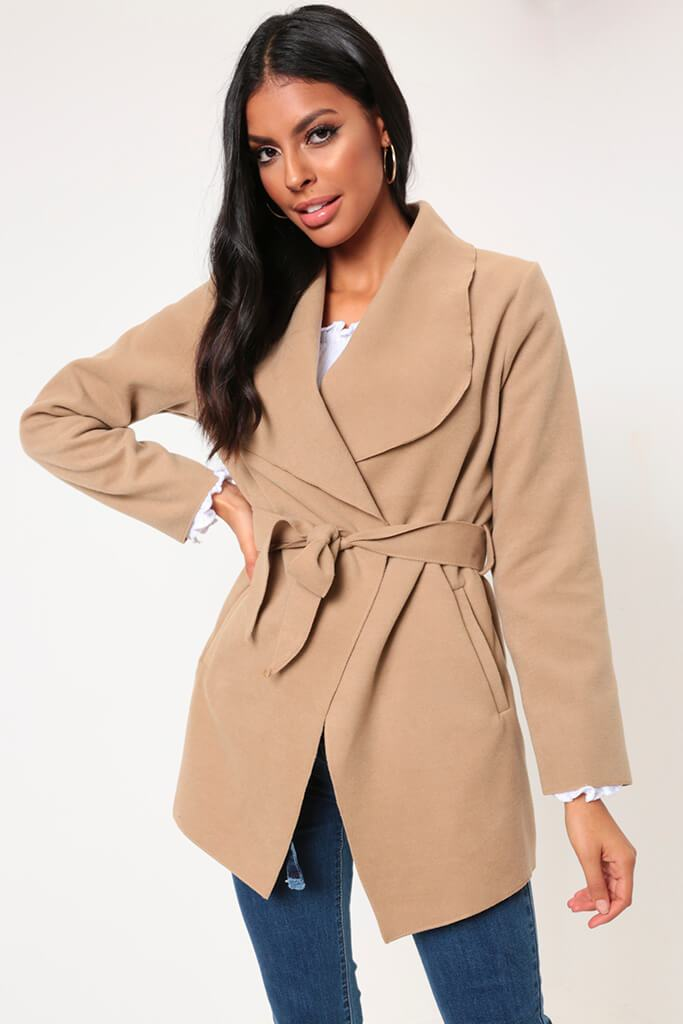Camel Waterfall Cropped Duster