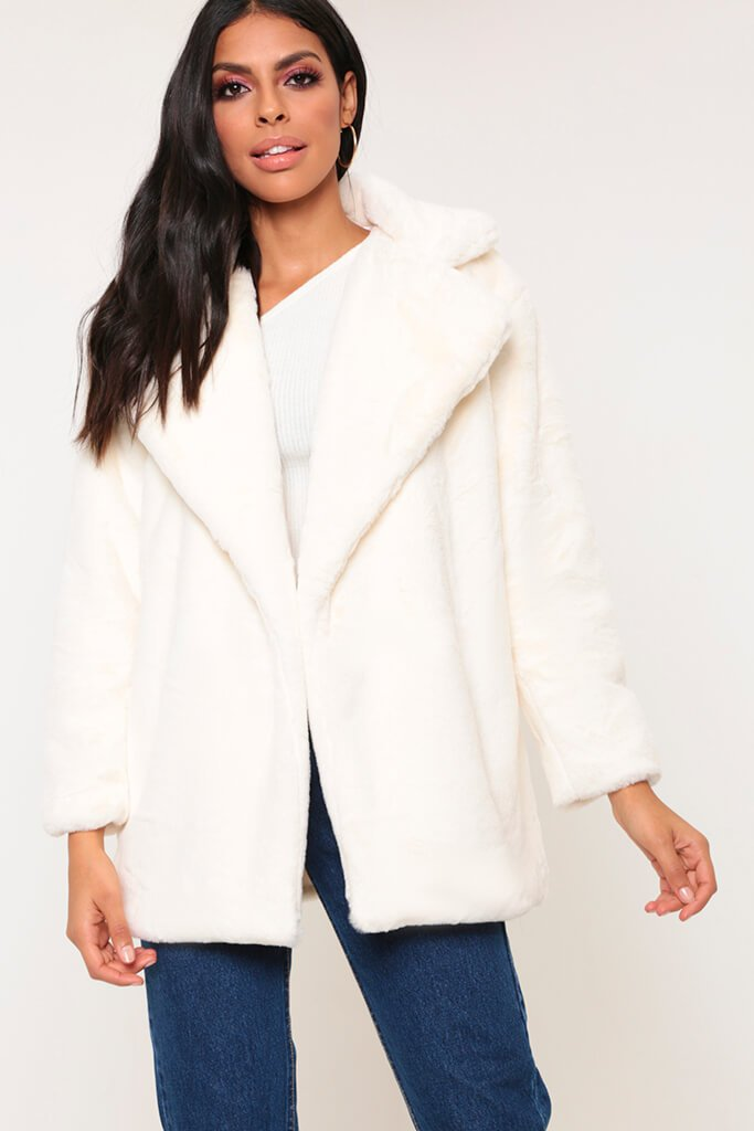 Cream Longline Super Soft Faux Fur Coat