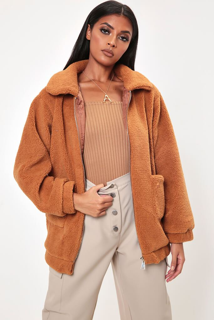 Camel Oversized Zip Through Teddy Borg Jacket view 2