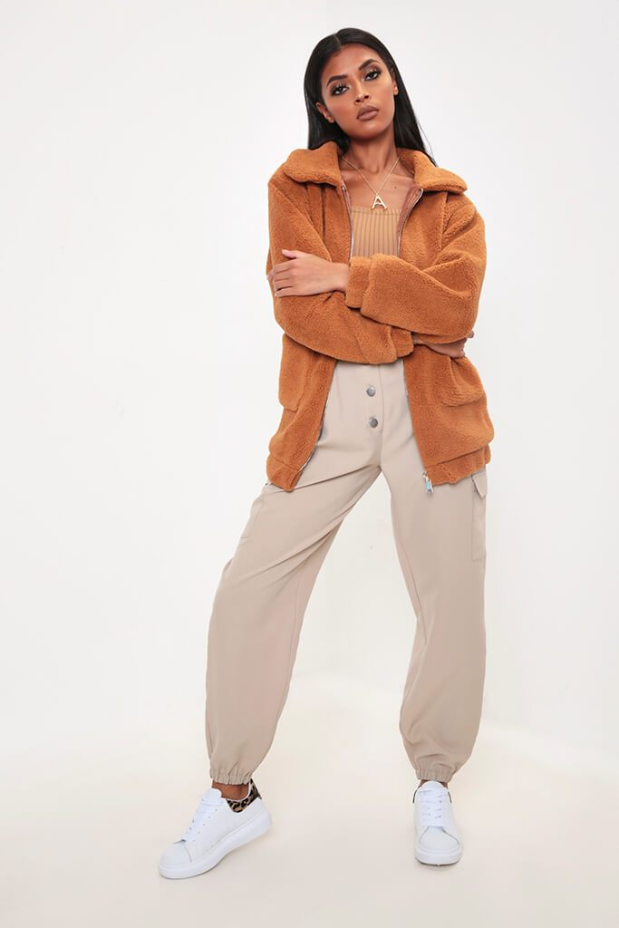 Camel Oversized Zip Through Teddy Borg Jacket