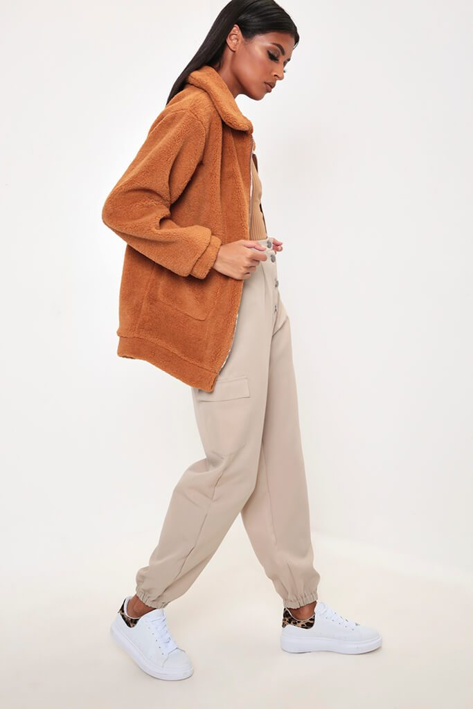 Camel Oversized Zip Through Teddy Borg Jacket view 3