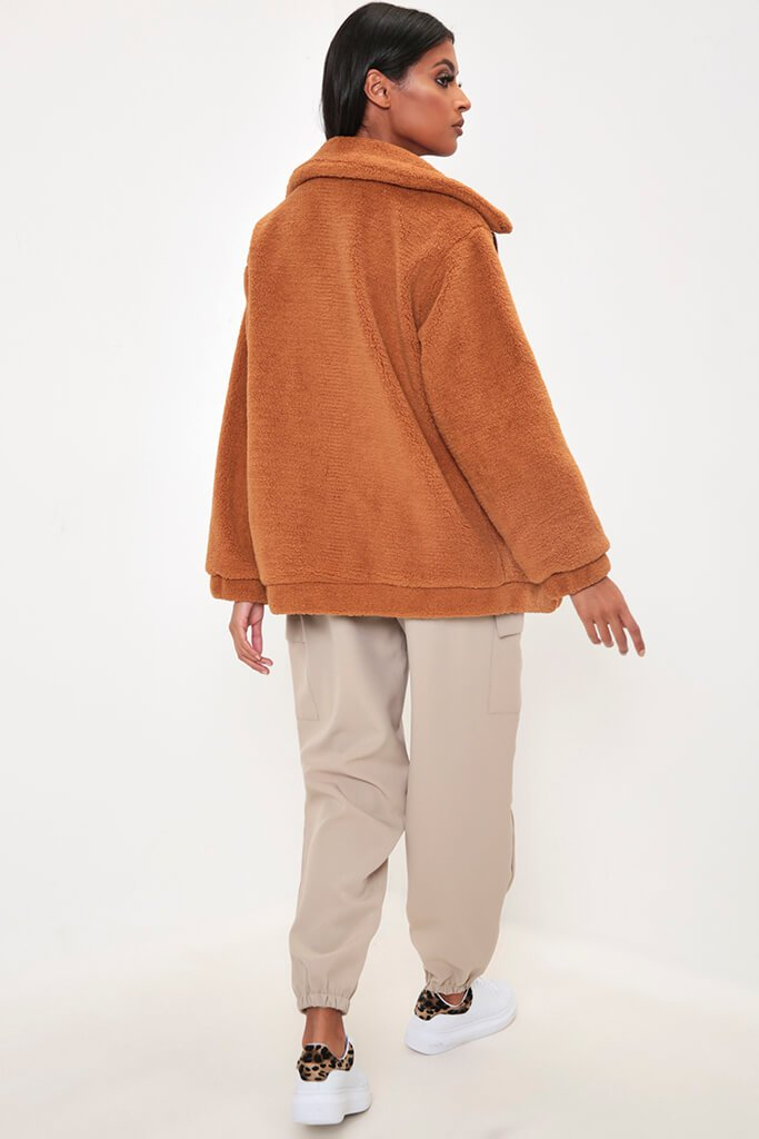 Camel Oversized Zip Through Teddy Borg Jacket view 5