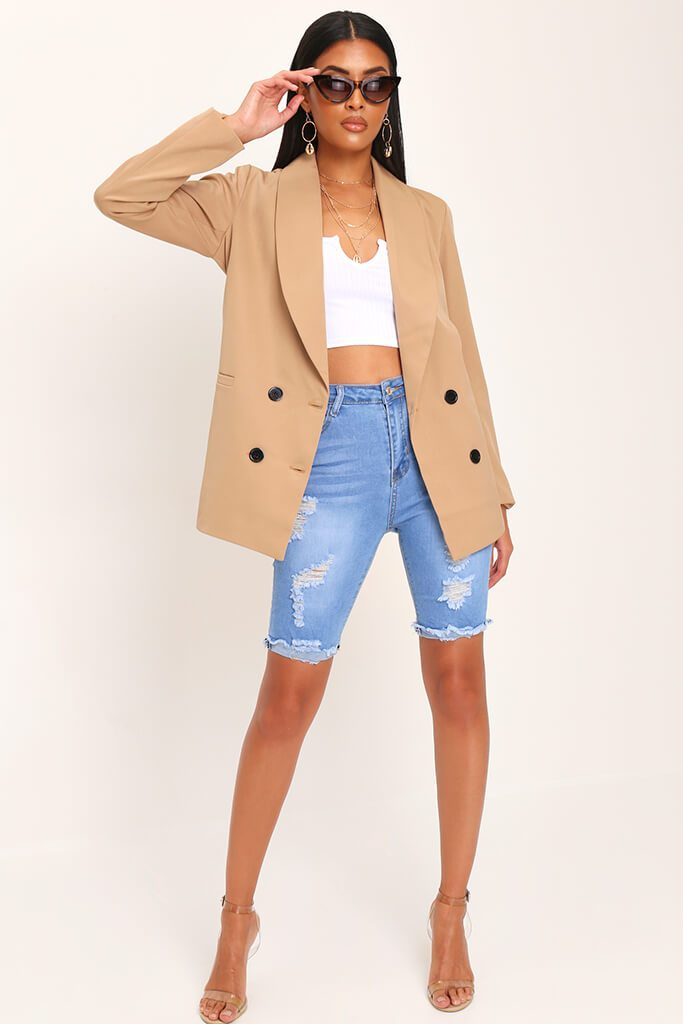 Camel Oversized Fitted Blazer view 3