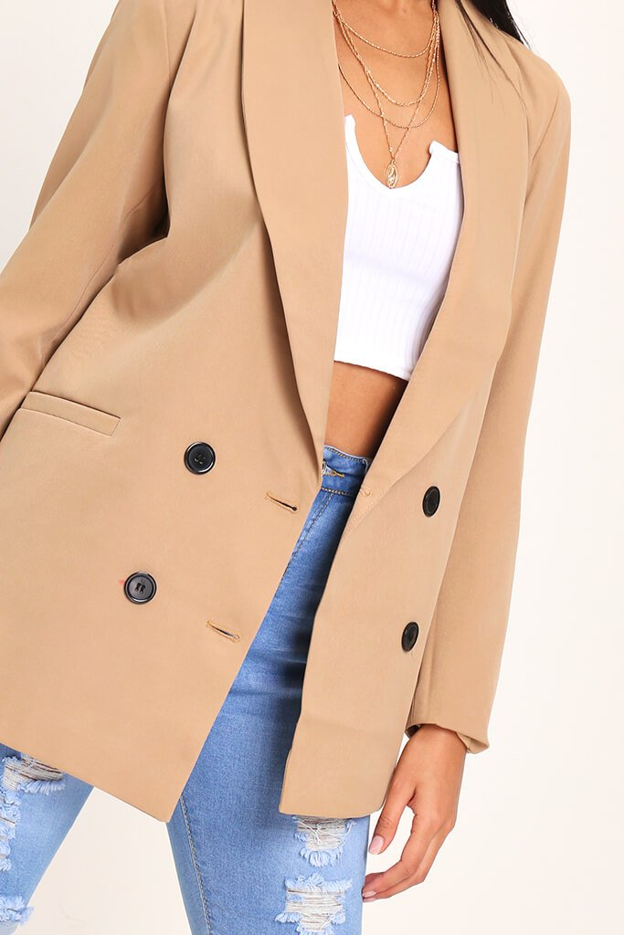 Camel Oversized Fitted Blazer view 4