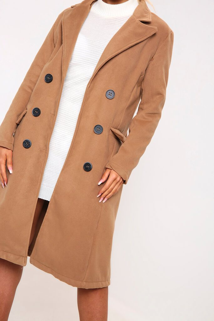 Camel Double Breasted Classic Coat view 4
