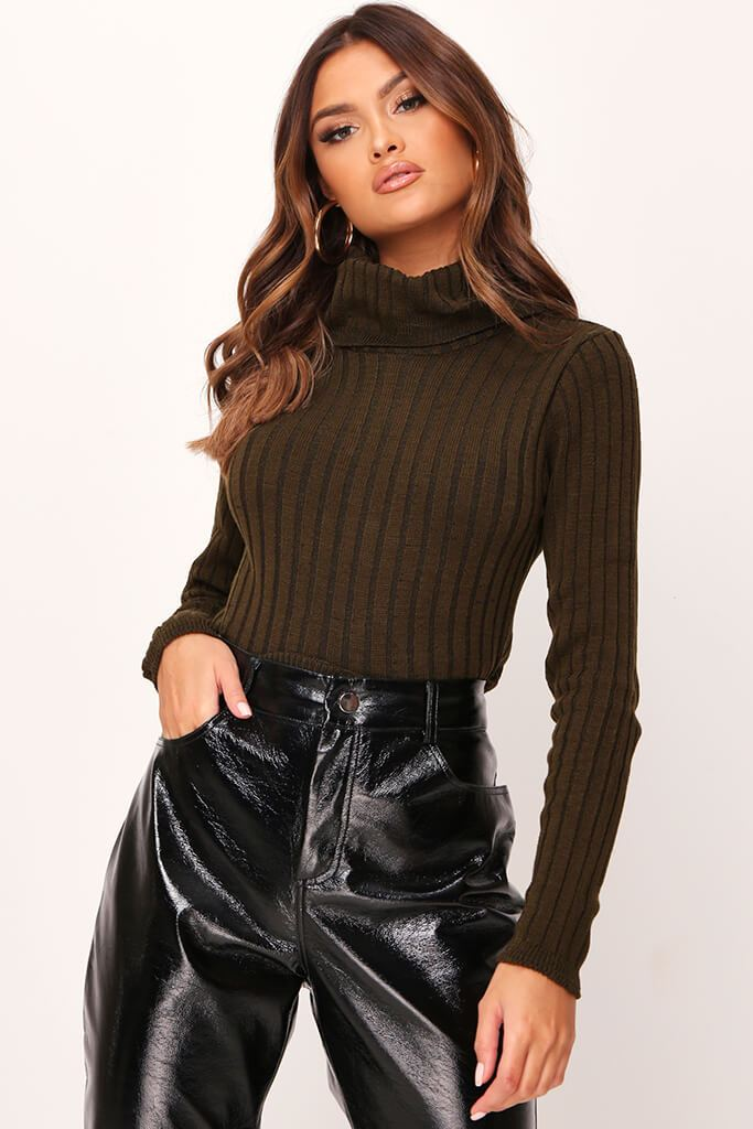 Khaki Rib Knit Roll Neck Cropped Jumper