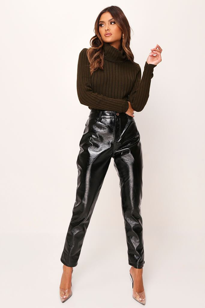 Khaki Rib Knit Roll Neck Cropped Jumper view 2