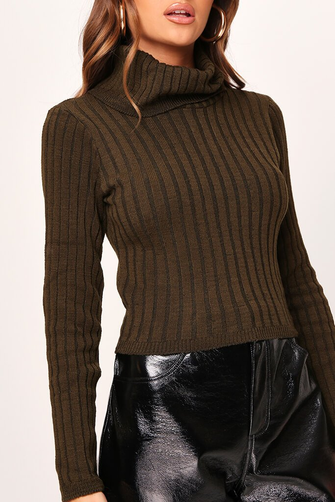 Khaki Rib Knit Roll Neck Cropped Jumper view 4