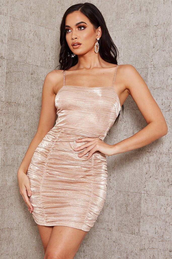 Gold Metallic Ruched Bodycon Mini Dress view main view