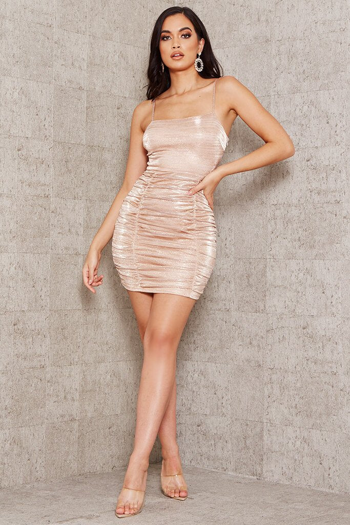 Gold Metallic Ruched Bodycon Mini Dress view 2