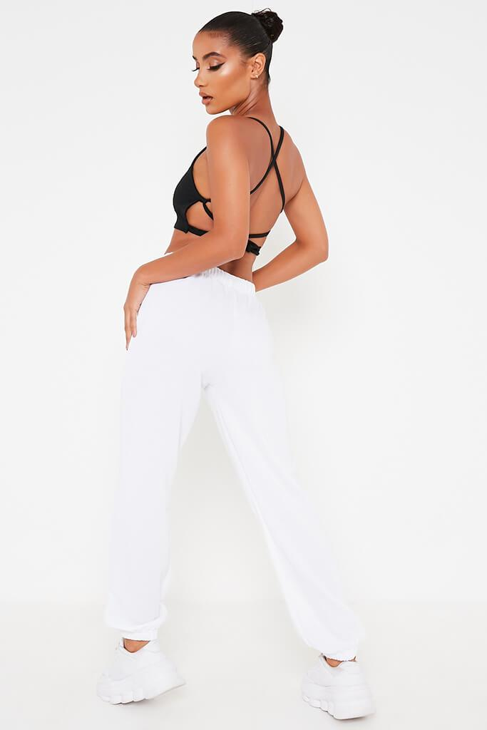 Black Stretch Crepe Strappy Back Crop Top view 5
