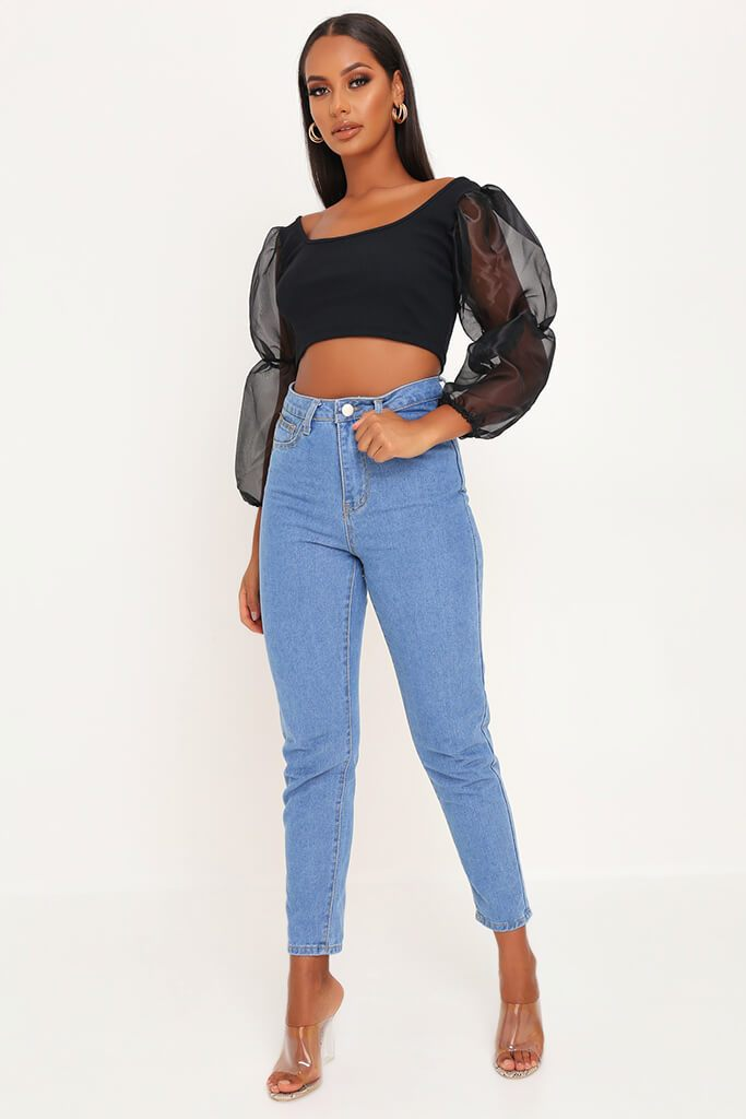 Black Organza Puff Sleeve Square Neck Crop Top view 2