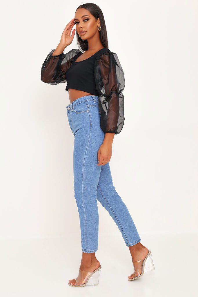 Black Organza Puff Sleeve Square Neck Crop Top view 3