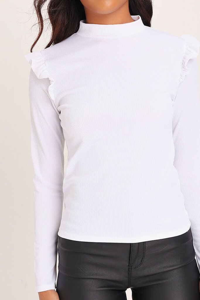 White High Neck Frill Shoulder Ribbed Top view 4