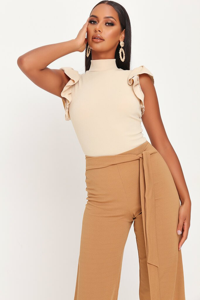 Sand Frill Shoulder High Neck Bodysuit