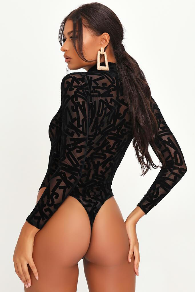 Black Burnout Sheer Mesh High Neck Long Sleeve Bodysuit view 5