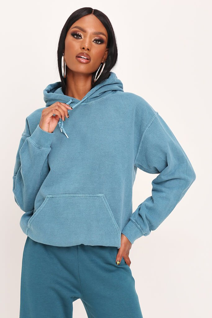 Teal Ultimate Oversized Washed Basic Hoodie view 2