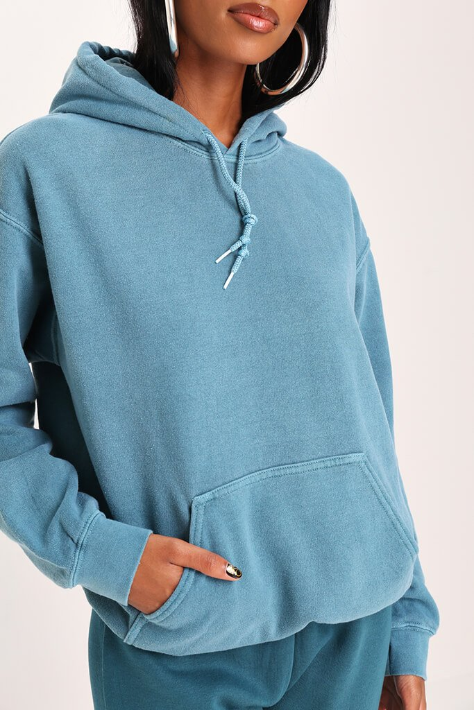 Teal Ultimate Oversized Washed Basic Hoodie view 4