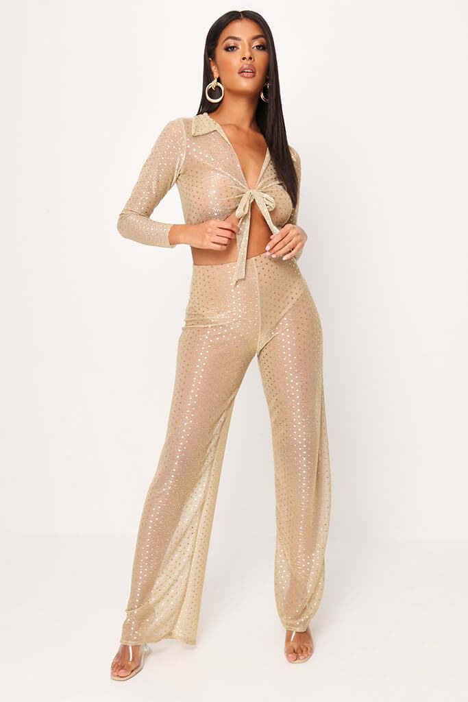 Gold Glitter Mesh Tie Front Crop Top view 2
