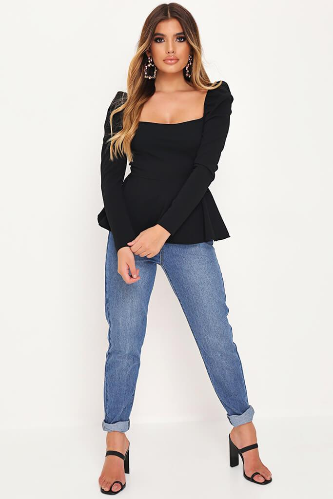 Black Long Sleeve Peplum Hem Milkmaid Blouse view 2