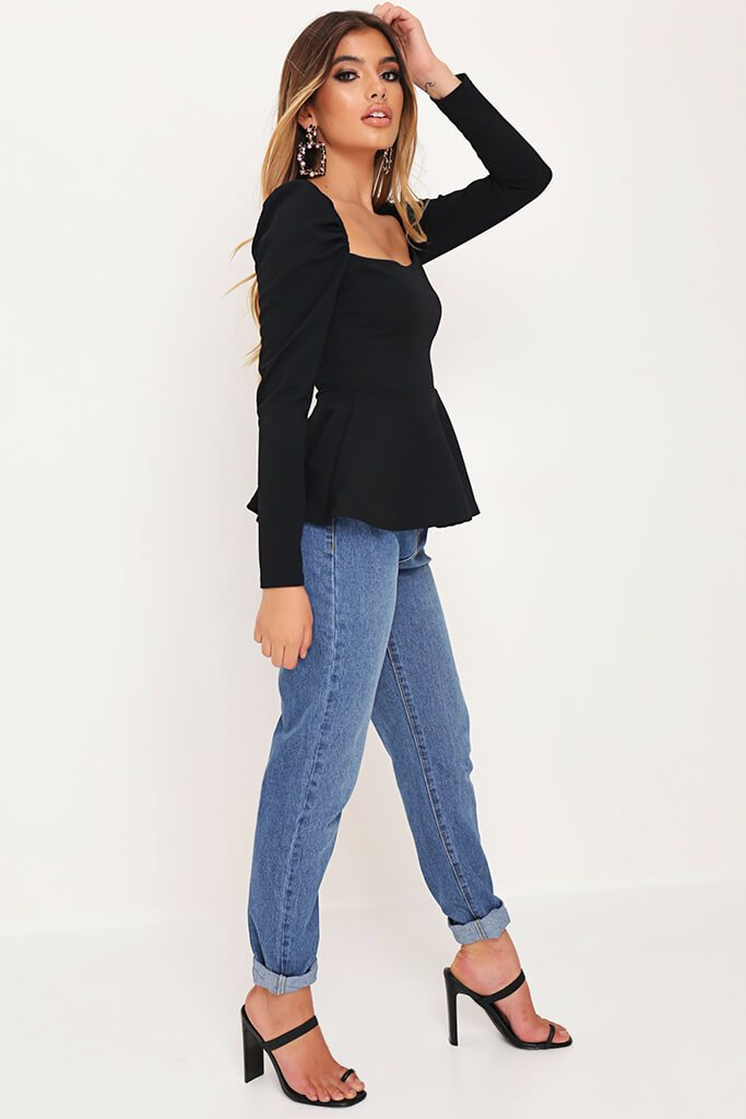 Black Long Sleeve Peplum Hem Milkmaid Blouse view 3