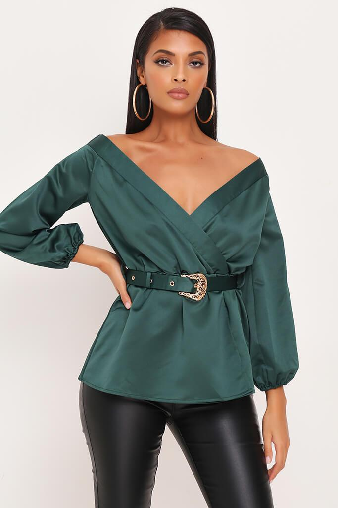 Emerald Premium Bardot Satin Buckle Belt Blouse