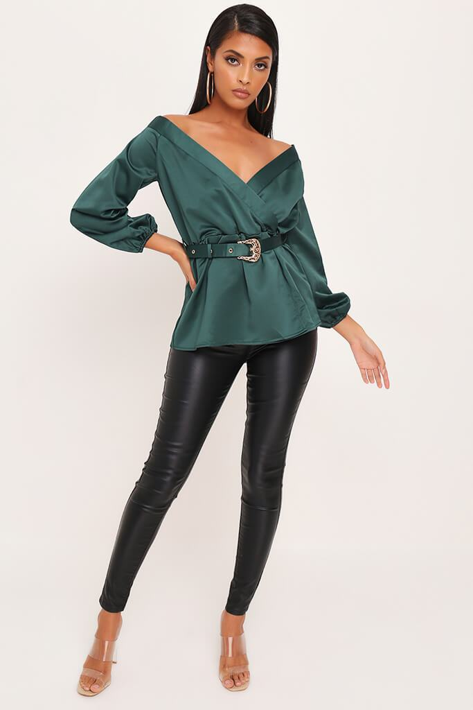 Emerald Premium Bardot Satin Buckle Belt Blouse view 2
