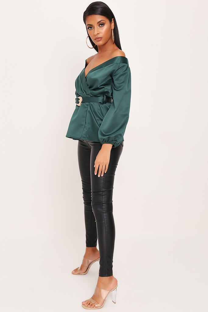 Emerald Premium Bardot Satin Buckle Belt Blouse view 3