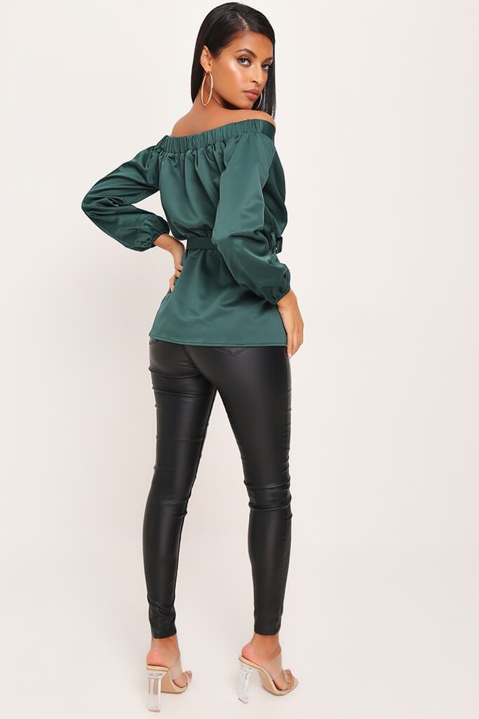 Emerald Premium Bardot Satin Buckle Belt Blouse view 5